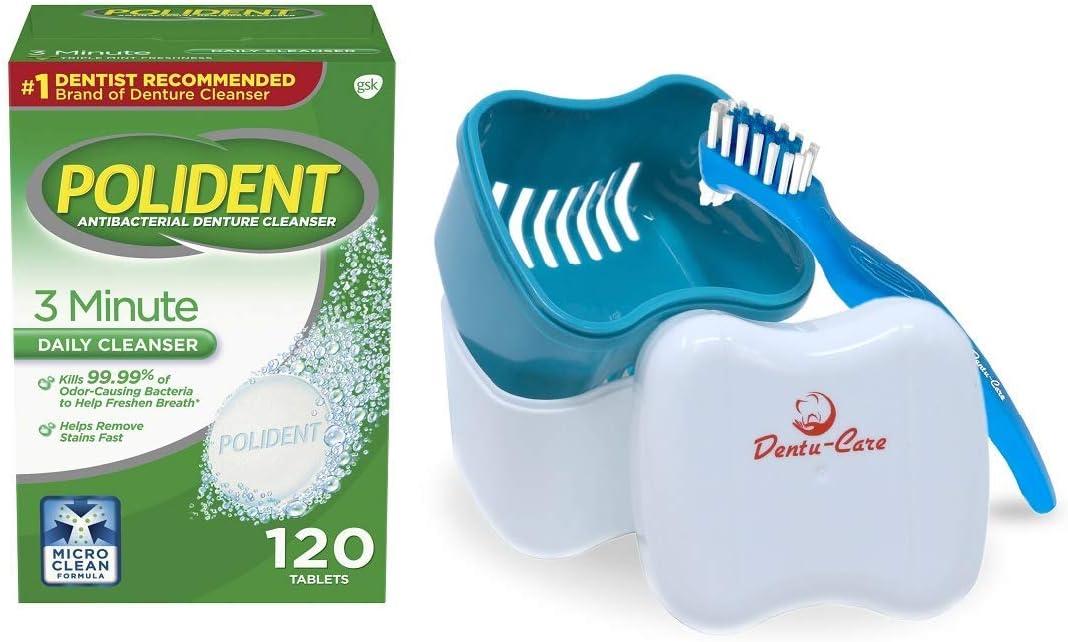Polident - Pastillas limpiadoras de dentaduras (3 minutos, 120 unidades, incluye estuche para dentaduras y cepillo para mantener una buena limpieza completa y parcial dentaduras: Amazon.es: Belleza