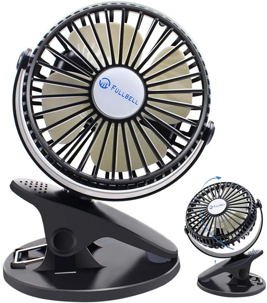 Clip Desk Fan Rechargeable 2200Mah Battery Operated Tiny Desk Fan Black 3 Speeds and Unique Design Standing Fan for Office Activities Home Sports