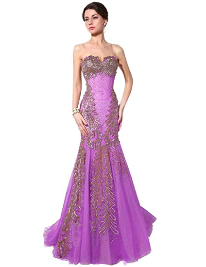 Sarahbridal Womens Luxury Embroidery Mermaid Evening Gown Prom Dresses Long SSY002 Lavender UK14