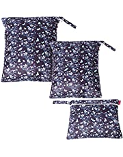 Damero Wet Dry Bag for Cloth Diaper, Swimsuit, Clothes, Ideal for Travel, Exercise, Daycare, Roomy and Water-Resistant