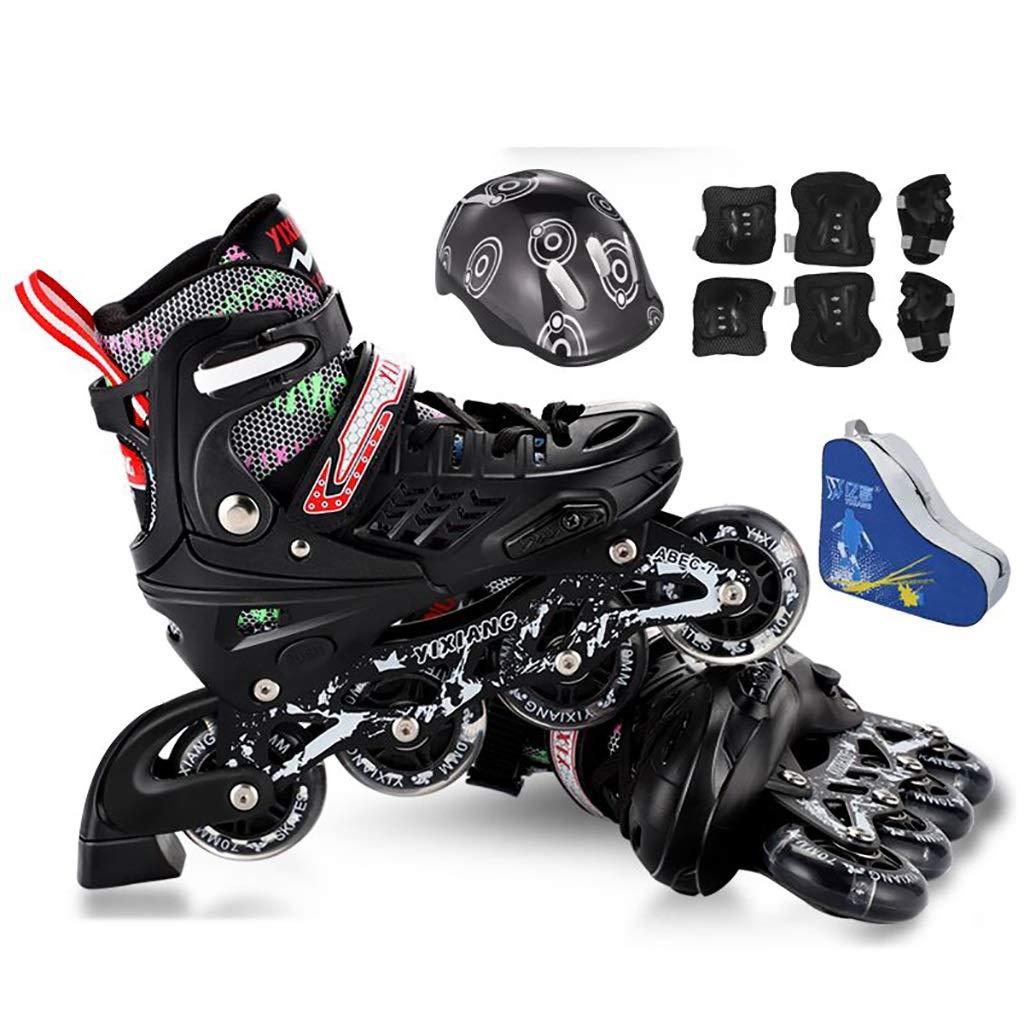 ティーンサイズ調節可能なサイズインラインスケート快適で安全で丈夫なローラーブレードジュニア安全で丈夫なインラインスケート (Color : 黒, Size : M-EU(33-37)) 黒 M-EU(33-37)