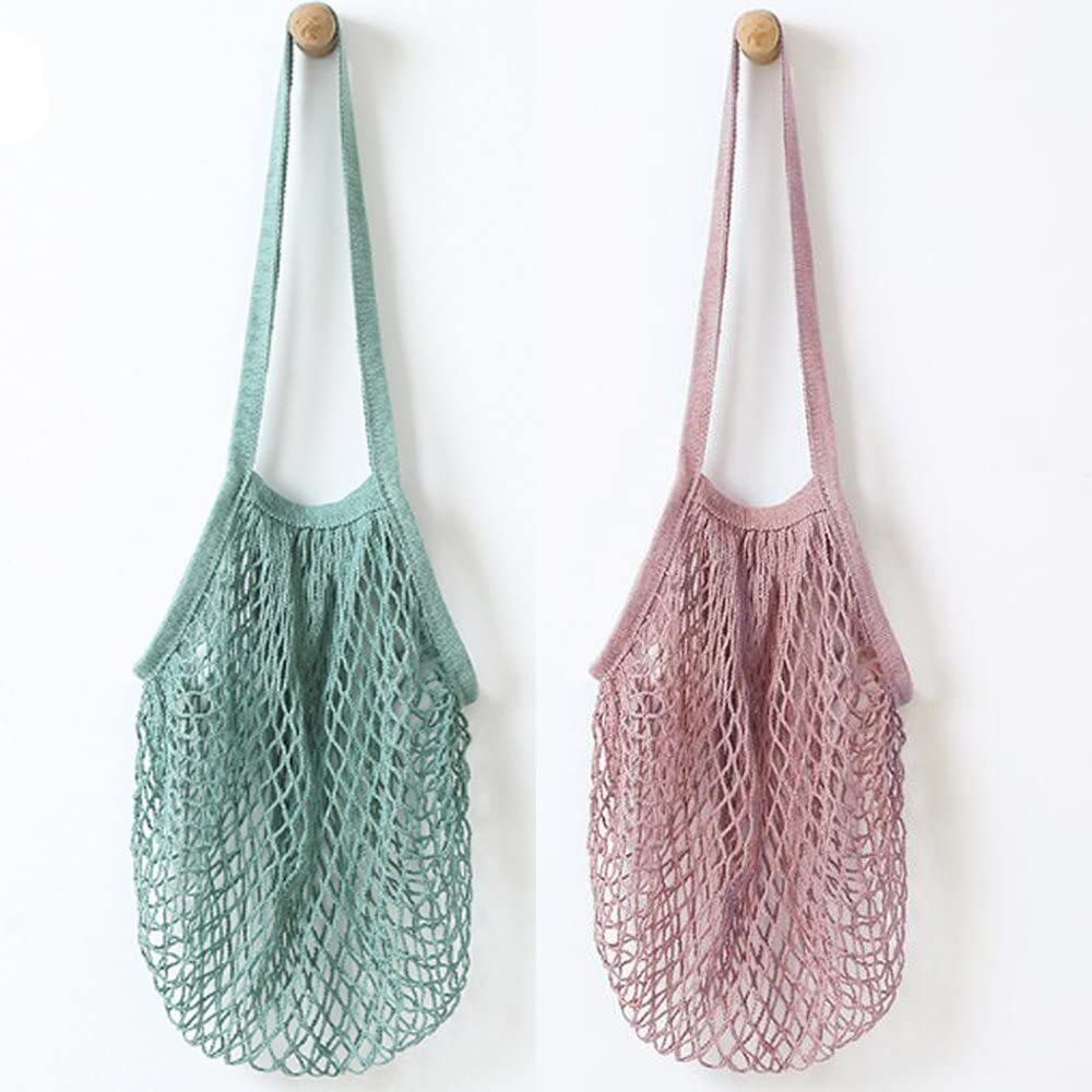 YEKEYI 2Pcs Portable Reusable Mesh Cotton Net String Bag Organizer Shopping Tote Handbag Fruit Storage Shopper NEW (green,purple)
