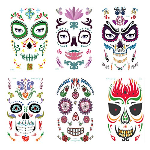 Intoy 6 Pack Sugar Skull Temporary Face Tattoo,
