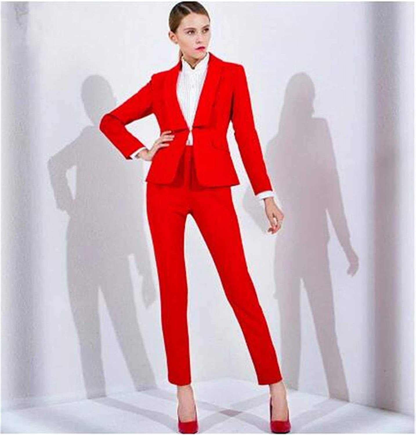 Amazon.com: Women's Suit 2 Pieces Set Autumn Office Wear Pants with Jacket  Ladies Trousers and Jacket Set Custom Made: Clothing