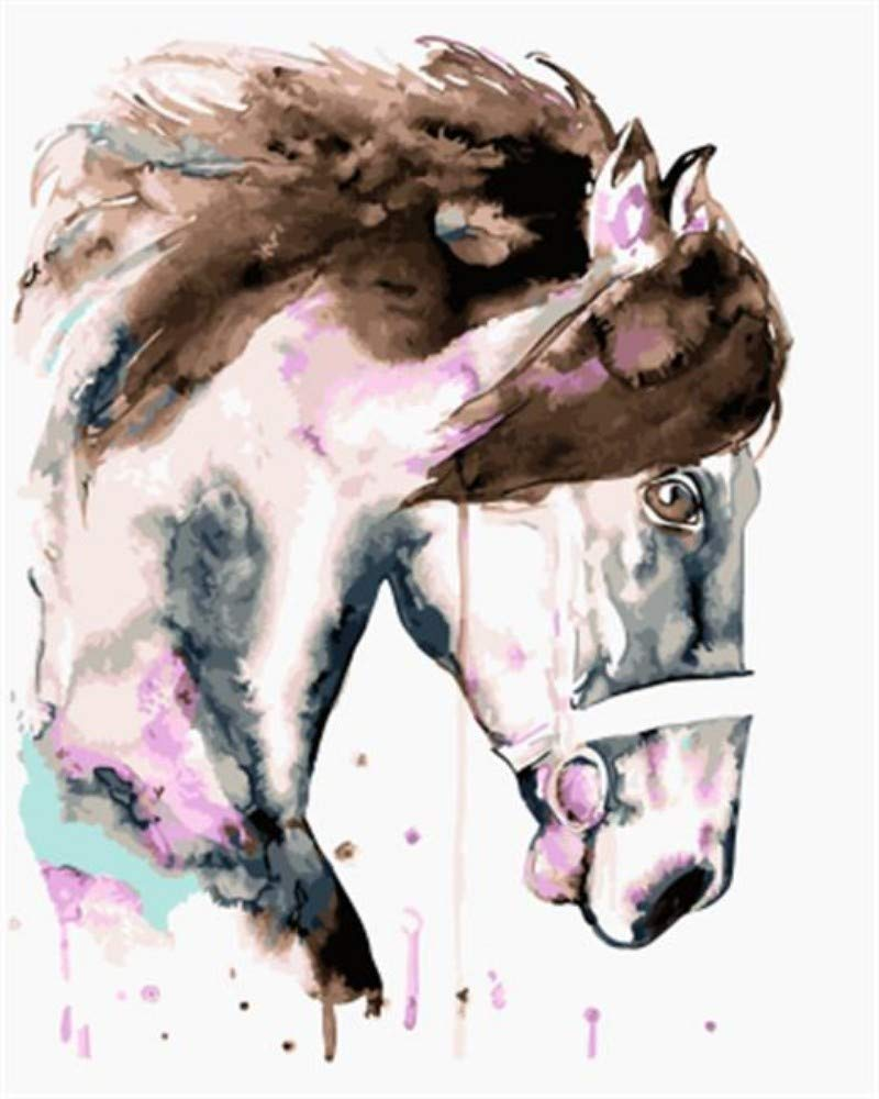 WANAN Framed Picture Painting & Calligraphy Of colorful Animal Horse DIY Painting By Numbers On Canvas coloring By Numbers