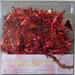 Sienna 661-36806511 Valentines Day Lights - Red Heart Tinsel Garland