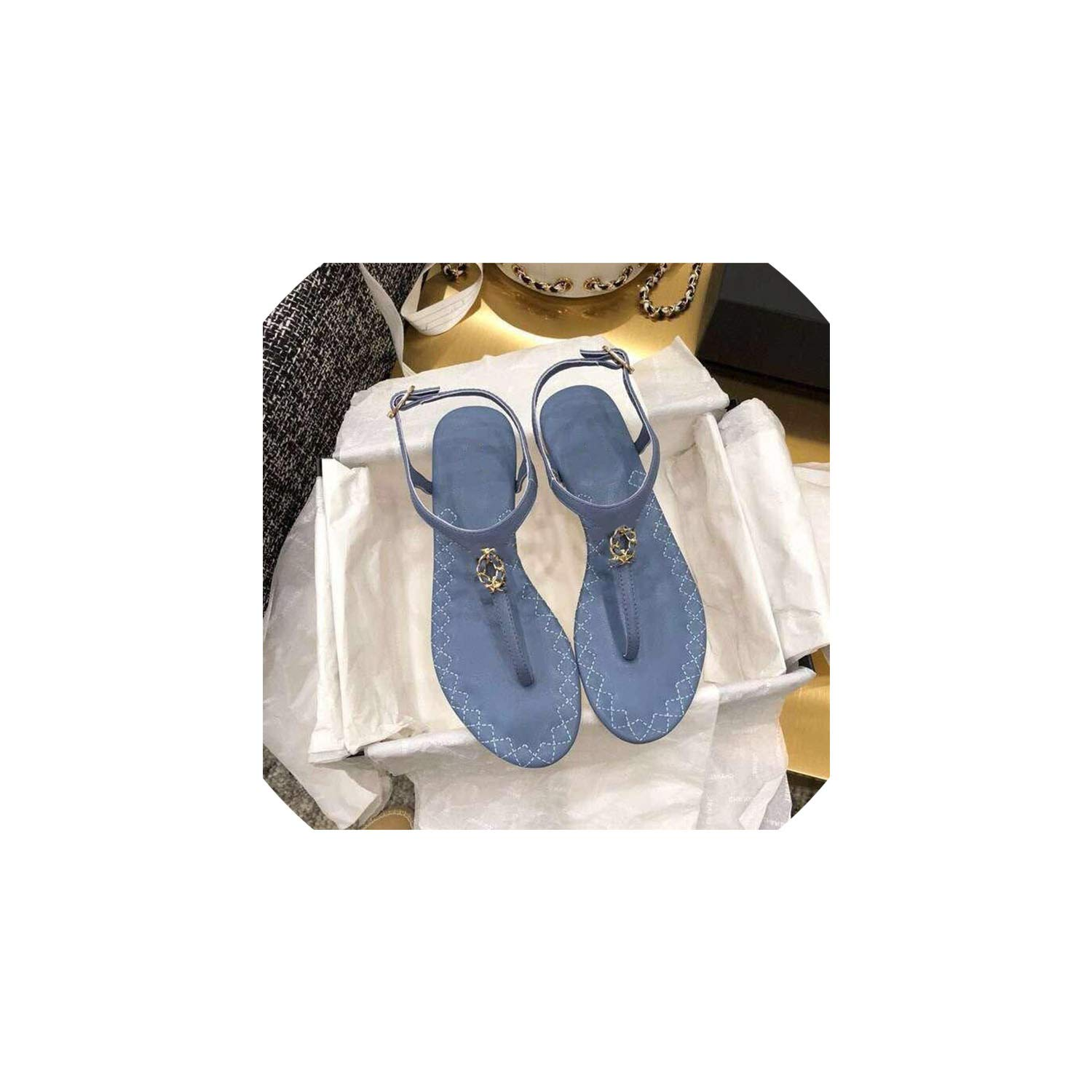 Sky bluee Boom-moon Summer Woman Solid color Buckle shoes Multi-color Metal Decoration Beach