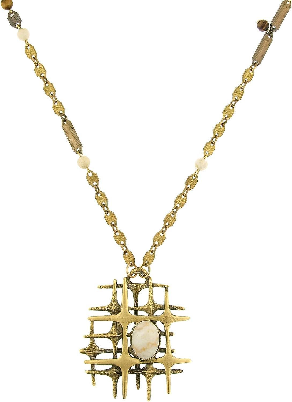1928 Jewelry Brass-Tone Modern Midcentury Style Semi-Precious Riverstone Pendant Necklace 38