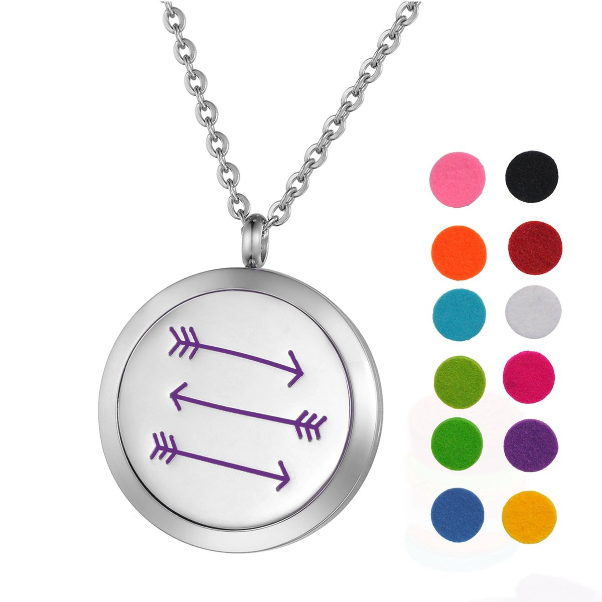 Aromatherapy Essential Oil Diffuser Necklace Stainless Steel Just Breathe Pendant Locket with 12 Pads 24 Chain Silver Tone Supreme glory Necklace1011A35