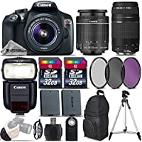 Canon EOS Rebel T6 DSLR Camera + 18-55mm IS II Lens + Canon 75-300mm Lens + Canon Speedlite 430EX III RT + 64GB Storage + Backup Battery + UV-CPL-FLD Filter Kit + Wrist Grip - International Version