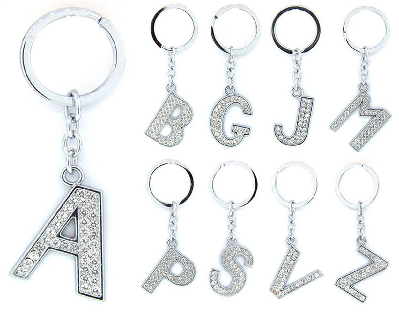 Plata Juguete Adorable Llavero Adorable Rhinestone B Shape Keychain Alphabet Letter Keyring para el Regalo de los Accesorios del Bolso