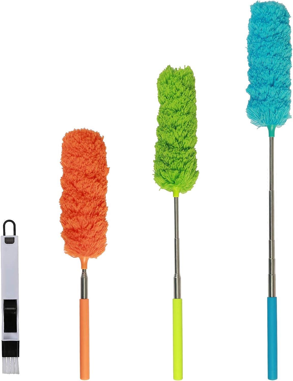 4pcs Plumero de Microfibra,SEELOK Plumeros para el Polvo Extensible Atrapapolvo Muebles Productos de Limpieza de la Casa para Limpiar Esquina Techo Ventanas Persianas Tela de Araña
