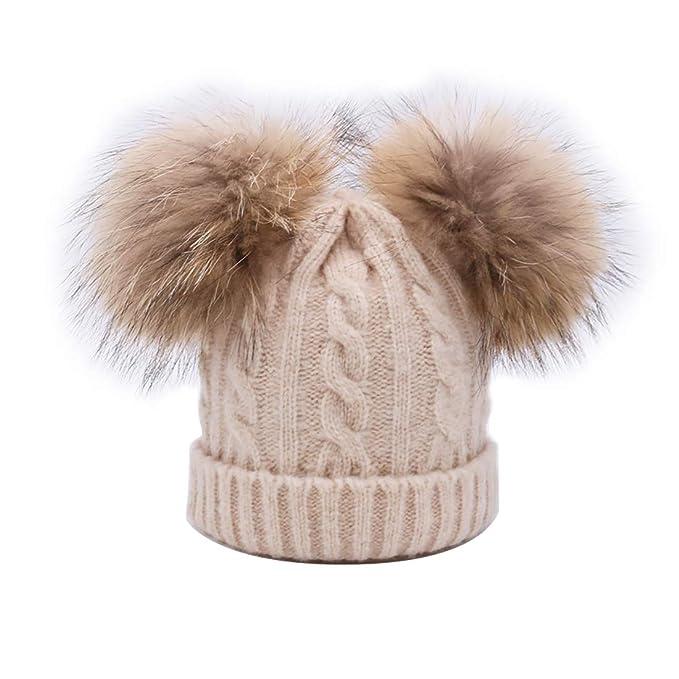Kaufen wie man bestellt Mode BeFur Kinder Winter Zopfmuster Bommelmütze Hut Beanie Cap mit zwei Bommel