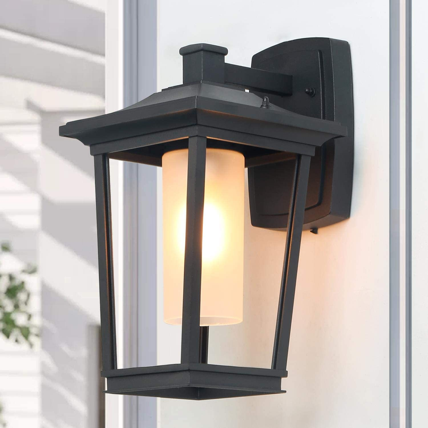 """Log Barn Large Porch Light Farmhouse Outdoor Wall Sconce with Frosted  Cylinder Glass for Entryways, Hallway, Garden, 19"""" H x 19"""" L x 19"""" W, A19"""