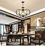 New Chinese iron ceramic chandeliers antique living room lights personalized bedroom study Chinese style retro restaurant lu205303py ( Size : 5head )