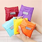 Finex Set of 5 Reusable Shopping Tote Travel Recycle Bag - Foldable to Save Space -Various Color-