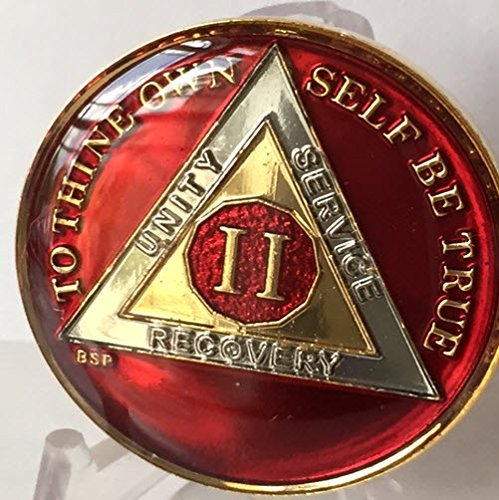 2 Year Mandarin Red Gold & Nickel Tri-Plate AA Alcoholics Anonymous Sobriety Medallion Chip Serenity Prayer