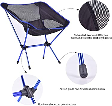 Travel Beach Festival CHEN HAO Outdoor Ultralight Portable Folding Chairs with Carry Bag Heavy Duty 250lbs Capacity Camping Folding Chairs for Outdoor Camp Hiking Picnic
