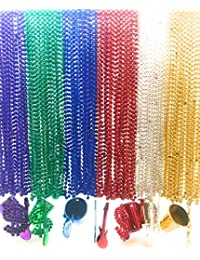 96 Pieces 33 inch Metallic Mardi Gras Multi Colors Beads Beaded Necklace with 18 Charms