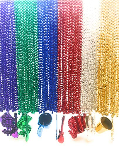 - Oojami 96 Pieces 33 inch Metallic Mardi Gras Multi Colors Beads Beaded Necklace with 18 Charms