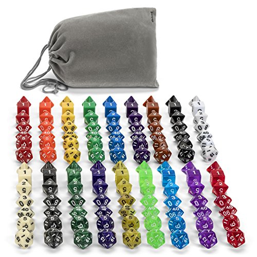 126 Polyhedral Dice By ASCT- Complete Sets Of Seven Dice In 18 Colors - d4, d6, d8, d10, d12, d20 Dice & Percentile % die - Ideal For Tabletop, Math, RPG, MTG & D & D Games - With Velvet Dice Pouch (Lucky Seven Dice)