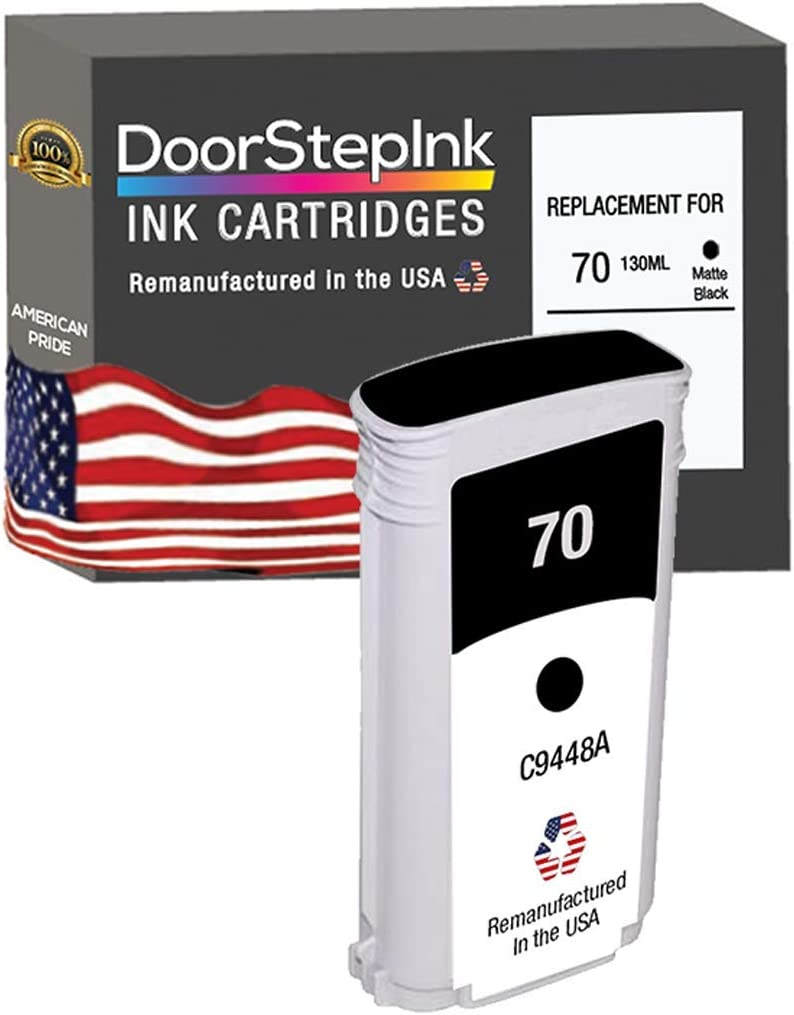DoorStepInk Remanufactured in The USA Ink Cartridge Replacements for HP 70 130ml Matte Black C9448A for HP DesignJet Z2100 Z3100 Z3200 Z5400