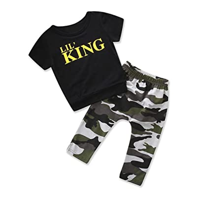 Moonker Toddler Infant Baby Boys Summer Outfits Clothes Letter T Shirt Tops+Camouflage Pants Set