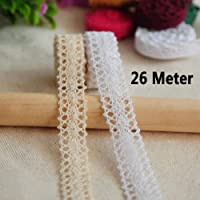 Lowki 1CM Beige Lace Trim for Scrapbooking Gift Package Wrapping,Crocheted Lace Trim DIY Craft Ribbon,10 Yards Cotton Lace Ribbon