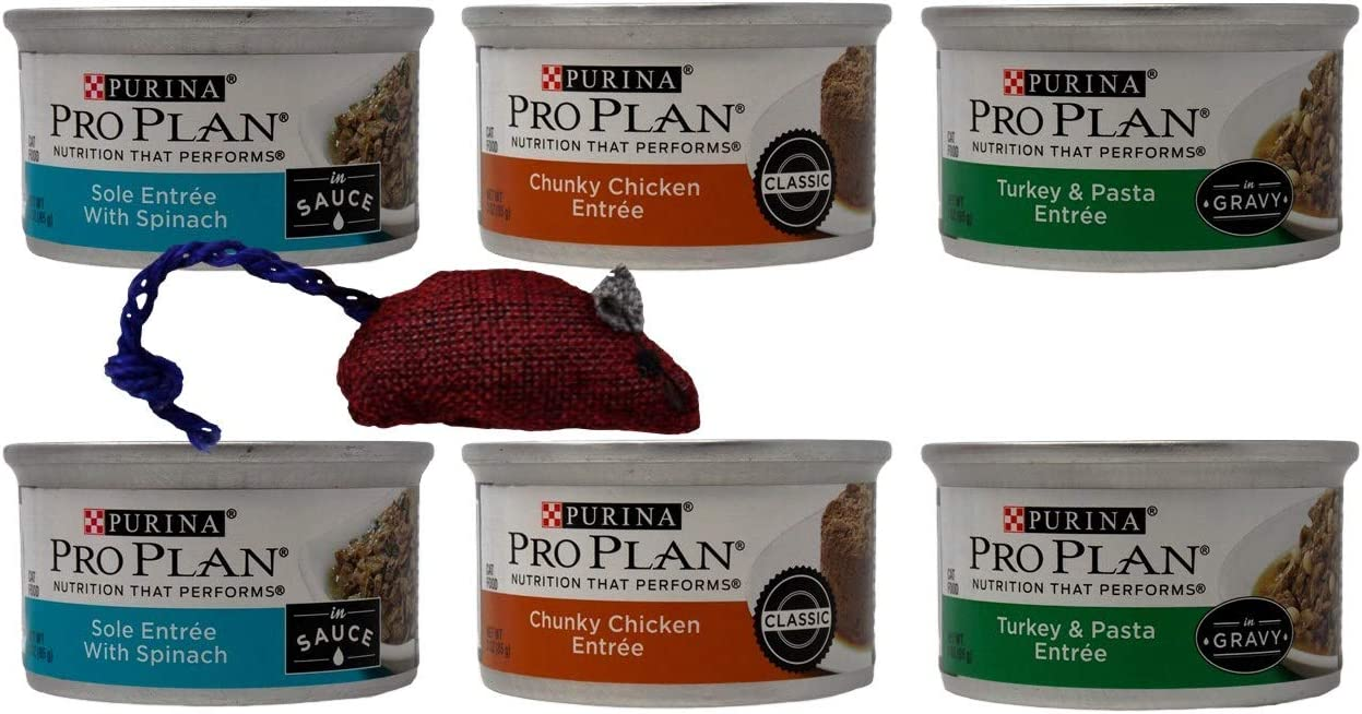 Purina Pro Plan Canned Wet Cat Food Entree 3 Flavor 6 Can Sampler Bundle with Catnip Mouse: (2) Sole Spinach, (2) Chunky Chicken, and (2) Turkey Pasta (3 Ounces)