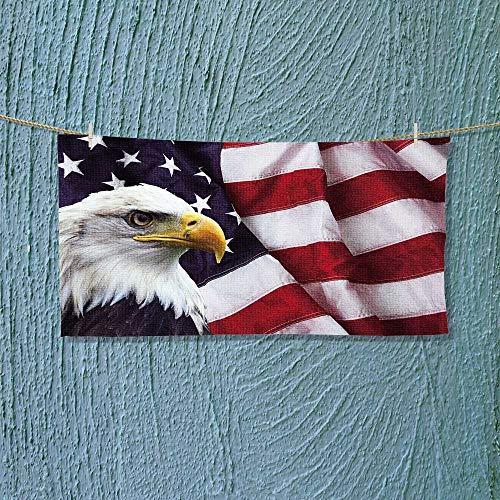 Leighhome Travel Towel North American Bald Eagle on American Flag Quick-Dry Towels Size: W 14