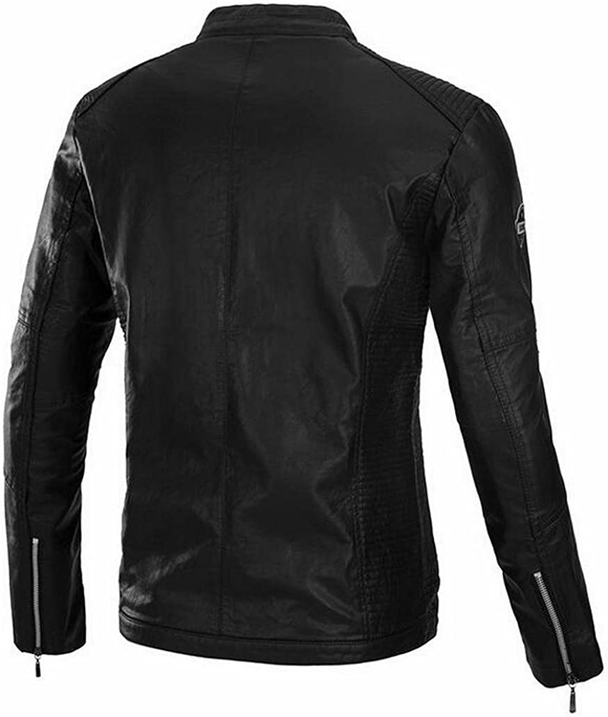 tescous Men Casual Zip Front Stand Collar Motorcycle PU Leather Jacket