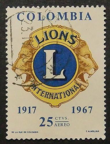 Leones internacional 1917 – 1967 Colombia – enmarcado sello de ...