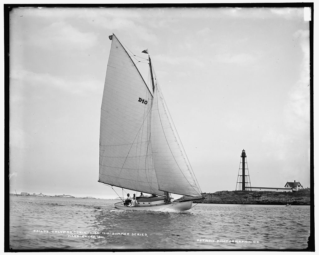 Vintography 40 x 30 Ready to Hang Canvas Wrap Calypso Corinthian mid-Summer Series Marblehead 1901 Detriot Publishing 96a