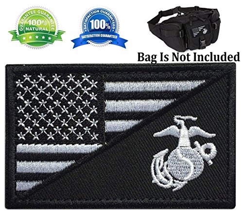 (Patch USA American Flag w/Marine Corps USMC Military Tactical Morale Badge Patch Embroidered Patch 3