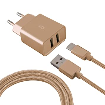 Ksix Cargador 2 USB 2,4 A con Cable USB C Oro Metal: Amazon ...