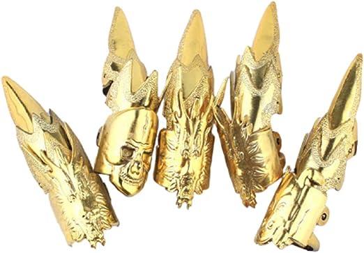 Amosfun - Juego de 15 uñas postizas de color dorado para Halloween ...