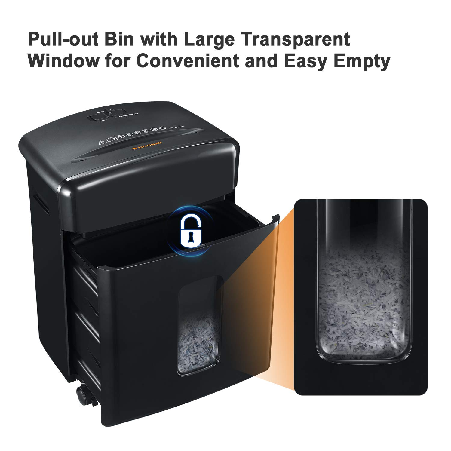 Bonsaii 12-Sheet Cross-Cut Paper, CD/DVD, and Credit Card Shredder with 3.5-gallons Pullout Basket, Black (C220-A) by bonsaii (Image #4)