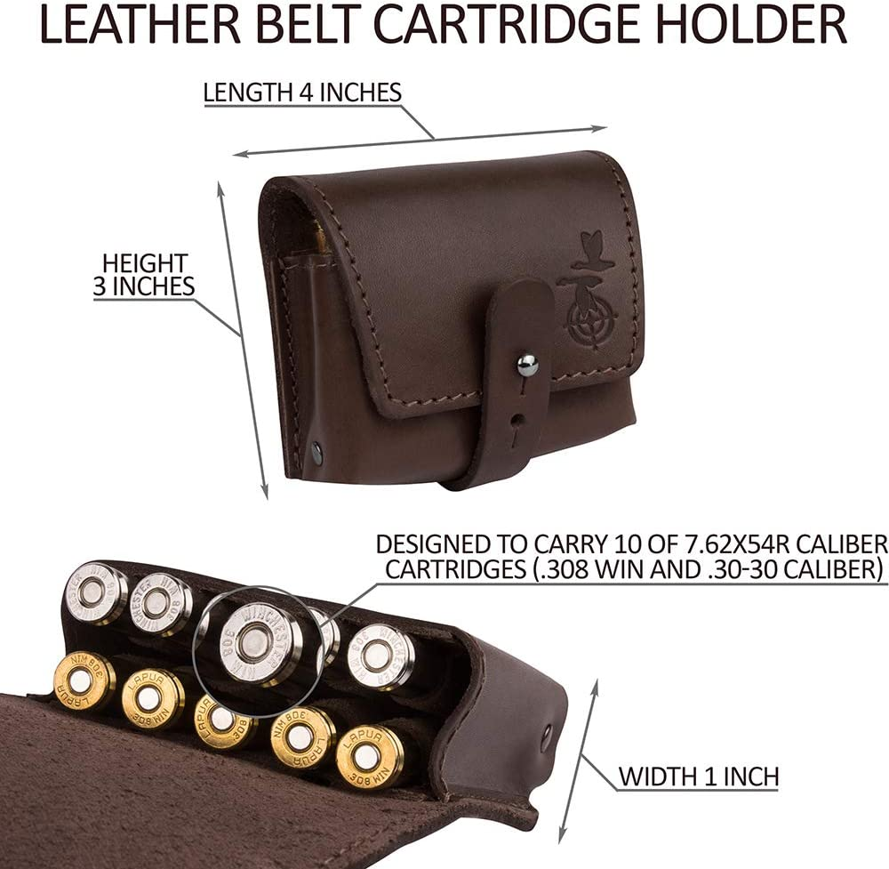 8 small cartridges Leathern cartridge wallet for 3 large 4 shells brown