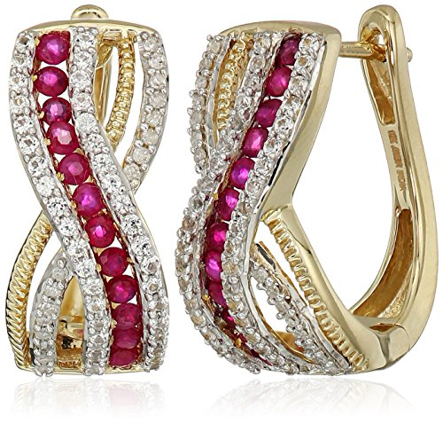 10k Yellow Gold Genuine Burmese Ruby Round with Genuine White Sapphire and White Diamond Accent Hoop Earrings (Ruby Genuine Sapphire)