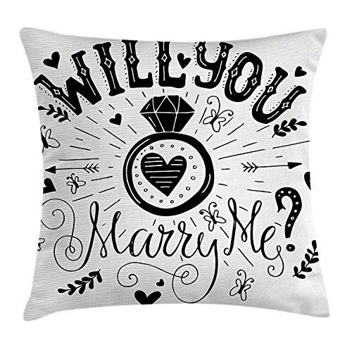 Marry Me Cookies (Ashasds Engagement Party Western Themed Will You Marry Me Quote with Hearts Image Throw Pillow Covers For Home Indoor Friendly Comfortable Cushion Standard Size 24x24)