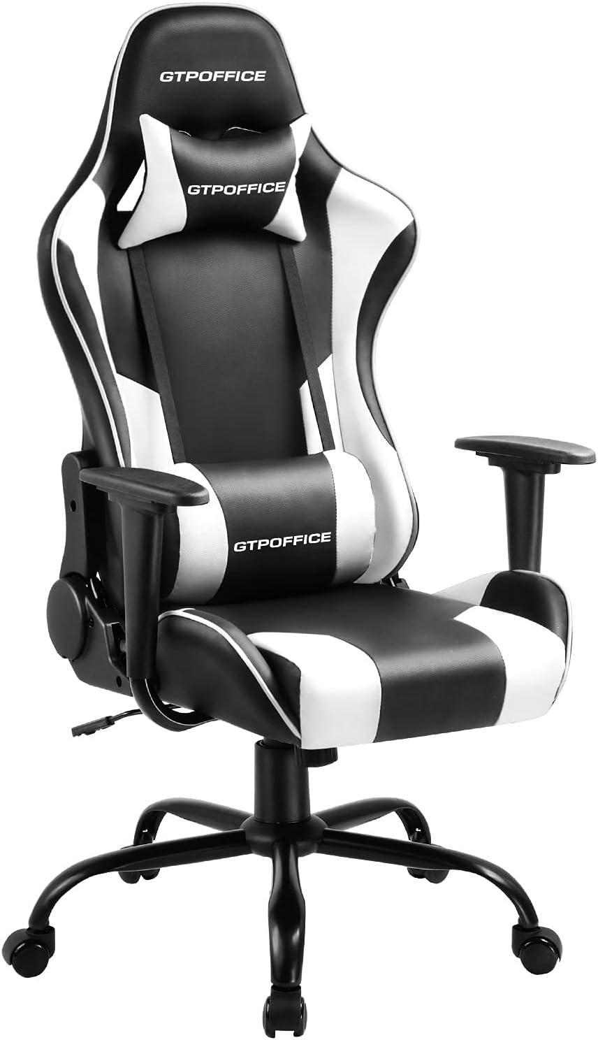 BHUTAN Gaming Chair Racing Office Chair Executive Ergonomic Swivel Task Chair PC Computer Desk Chair Reclining High Back with Retractable Arms Headrest/&Lumbar Pillows Blue, 1L