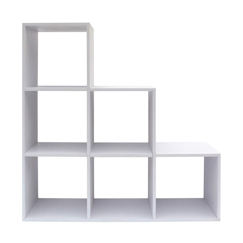 Rebecca Mobili Bücherregal Standregal Weiß Holz 6 Ablagen Schlafzimmer Wohnzimmer Design Modern Bücher Ordnung Dekoration (Cod. RE6039)