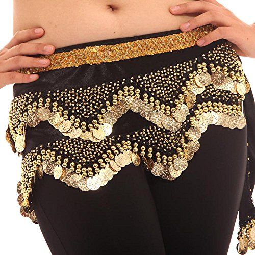 TOPTIE Belly Dance Hip Scarf W/Gold Coins, Belly Dance Costume Skirt Wrap Belt-Black 2-12PCS -