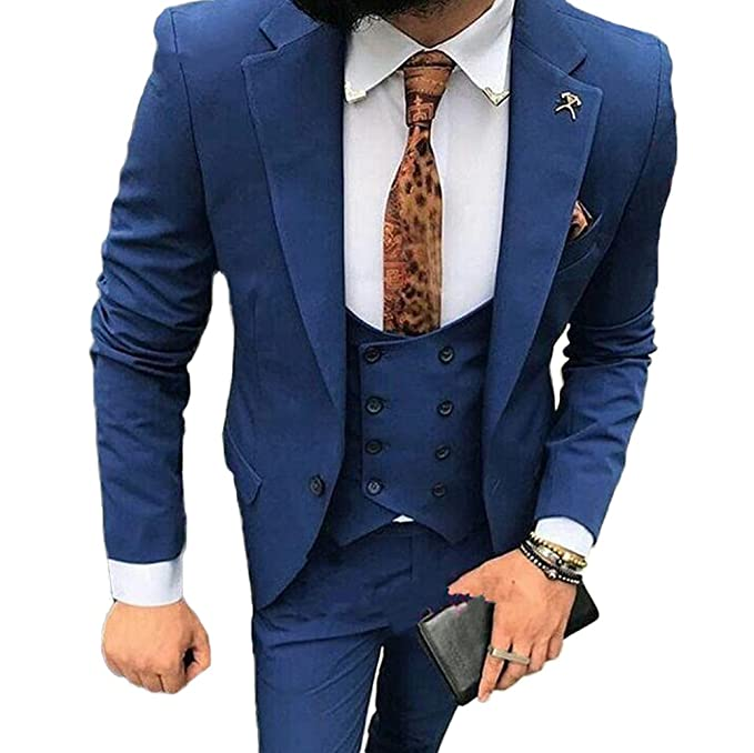 Mens Peak Lapel Slim Fit Blue 3 PC Suits One Button Wedding ...
