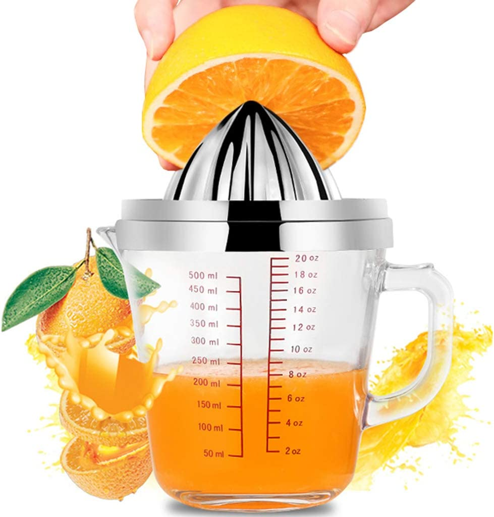 Lemon Squeezer - Citrus Orange Manual Juicer with 20oz Glass Measuring Cup and Stainless Steel Anti-Slip Lid Rotation Reamer Lime Press