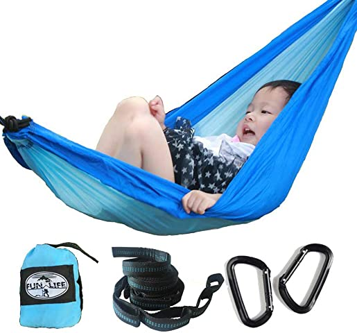 funlife Parachute Kids Camping Hammock 3 Sizes for Children,Comes with Tree Friendly Hammock Straps,2 Strong Sold Carabiners,Everything You Needed for Easy Set Up