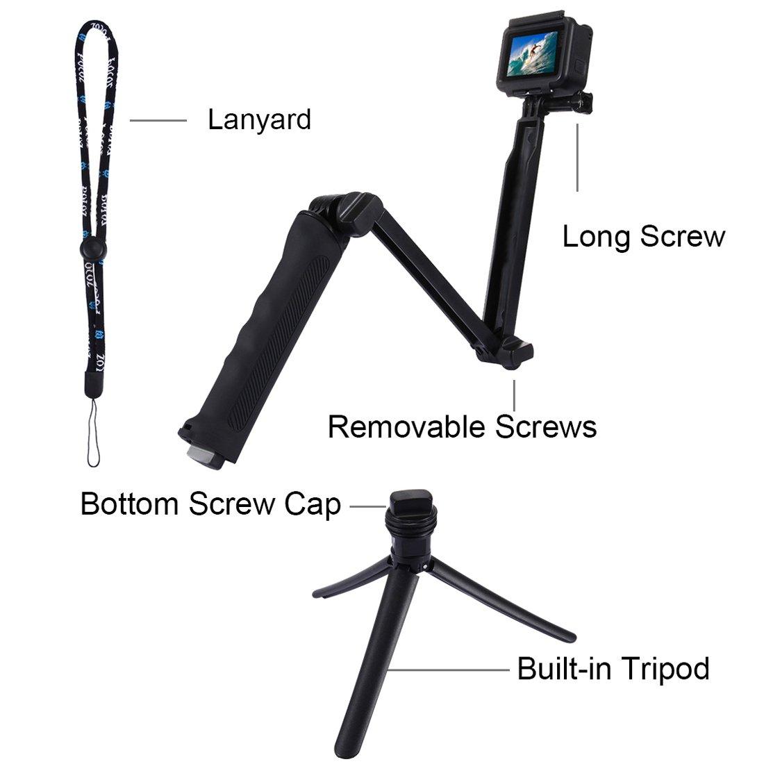 Awinning Multi Function Tripod Extendable Selfie Stick Metal Lid Pov Pole Monopod 49 Cm For Gopro Xiaomi Yi Blue Handheld Hero5 Hero4 Session Hero 5 4 3 2 1 Sjcam Sj4000 Pu202