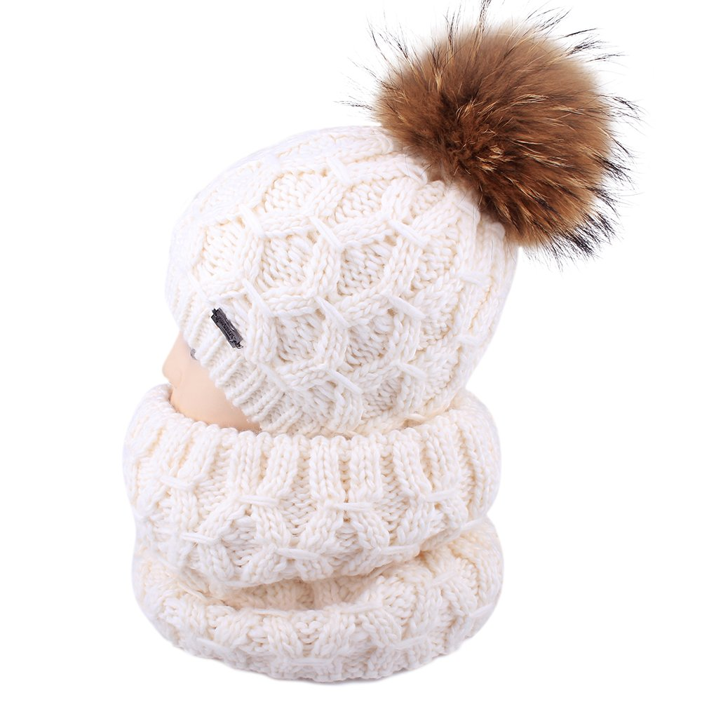Kids Winter Hat and Scarf Set for Children Knitted Beanie Hat Pom Pom Hats Infinity Scarf (White)