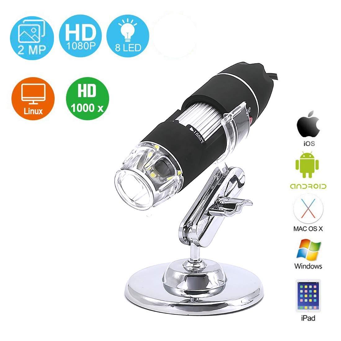 YOMYM Endoscopio ingrandimento 1000x, mini microscopi USB con supporto metallico e adattatore OTG, microscopio digitale USB 2.0/1.1 da 2 MP a 8 LED, compatibile con Mac Window 7 8 10 Android Linux