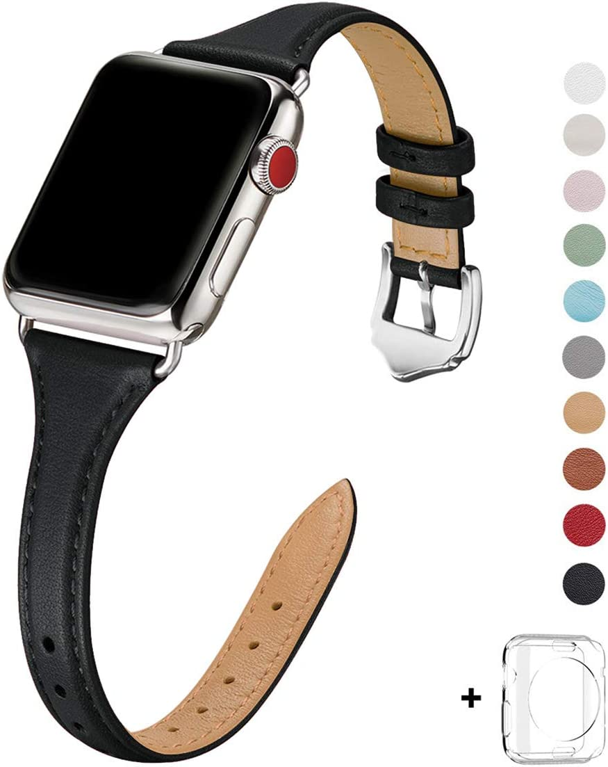 WFEAGL Leather Bands Compatible with Apple Watch 38mm 40mm 42mm 44mm, Top Grain Leather Band Slim & Thin Replacement Wristband for iWatch SE & Series 6/5/4/3/2/1 (Black/Silver, 38mm 40mm )